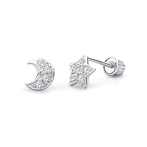 14k White Gold Star & Moon Stud Earrings with Screw Back