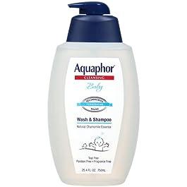 Aquaphor Baby Wash and Shampoo – Mild, Tear-free 2-in-1 Solution for Baby's Sensitive Skin – 25.4 fl. oz. Pump