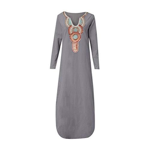 Sunmoot Clearance Sale Casual Sleeveless Linen Split Maxi Dress for Women, Summer Fashion Print Hem Baggy Kaftan Long Dress