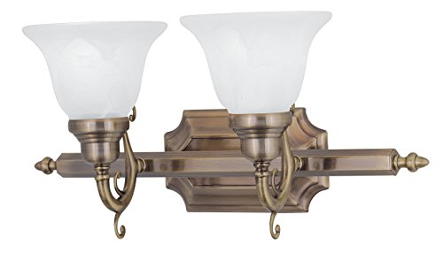 Livex Lighting 1282-01 French Regency 2-Light Bath Light, Antique Brass