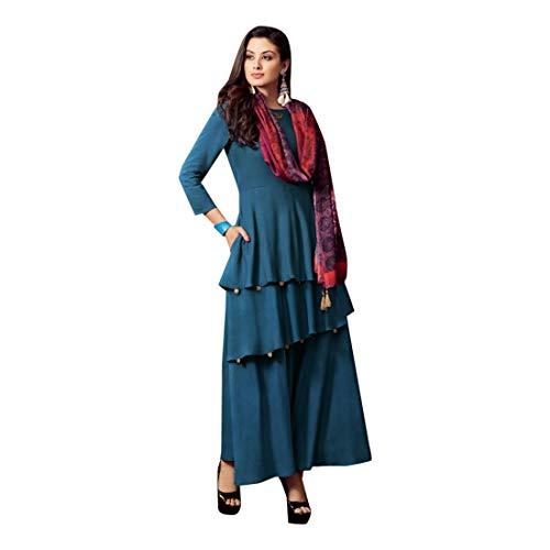 Noche Balaji De Indio Kurta Silk Estampado Usar Shri Con Listo Dupatta Diseñador Blue 7519 Cotton Vestido Emporium Fiesta Largo Saree amp; Para OCxwxd7nq