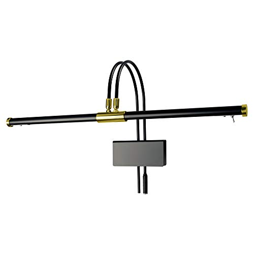 "Cocoweb GPLED22D 22"" Grand Piano Lamp, LED, Adjustable, Quality Lighting in Black with Brass Accents, with Plug-in Adapter"