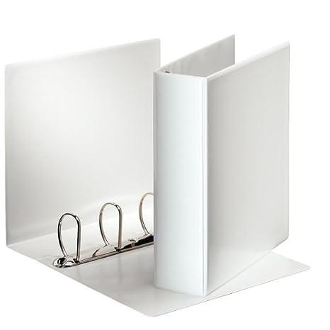 Esselte 49706 - Archivador (A4, 4 anillas en D, polipropileno, tamaño de las anillas 60 mm, 1 unidad), color blanco: Amazon.es: Oficina y papelería