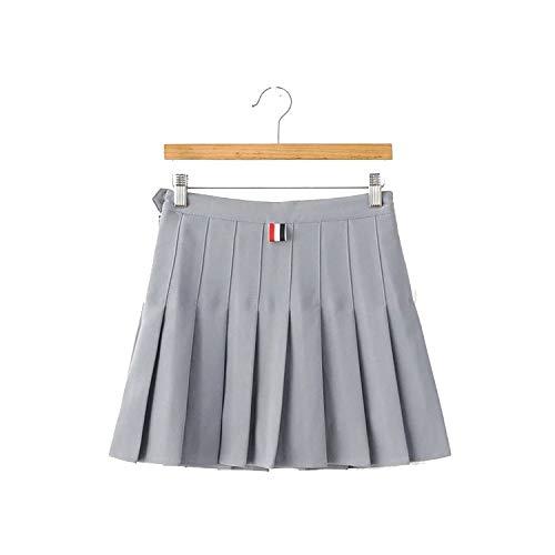 (Cheryl Bull Nice Pleated Skirt high Waist was Thin Anti-Away Short Skirt,Small,Gray)