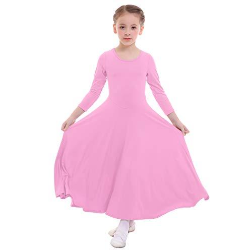 (IWEMEK Girls Liturgical Praise Dress Church Loose Fit Full Length Long Sleeve Dance Dress Worship Christian Circle Costume Dancewear Praisewear Pink 9-10 Years)