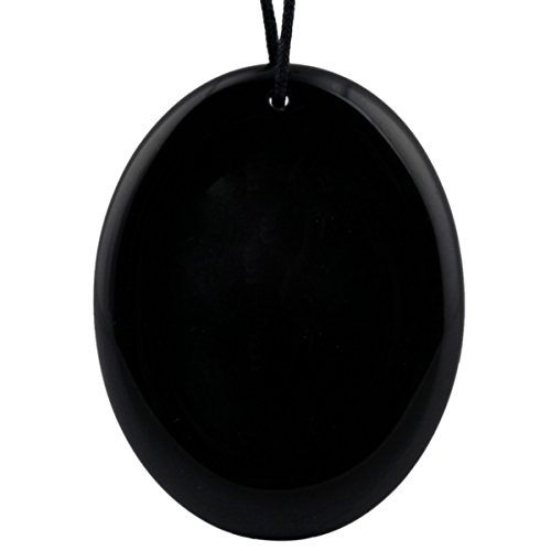 - TUMBEELLUWA Healing Crystal Quartz Worry Stone Pendants for Jewelry Making,Black Obsidian(Pack of 1)