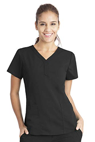 Purple Label by Healing Hands Scrubs Women's Jane V-neck 2 Pocket Top, Medium - Black