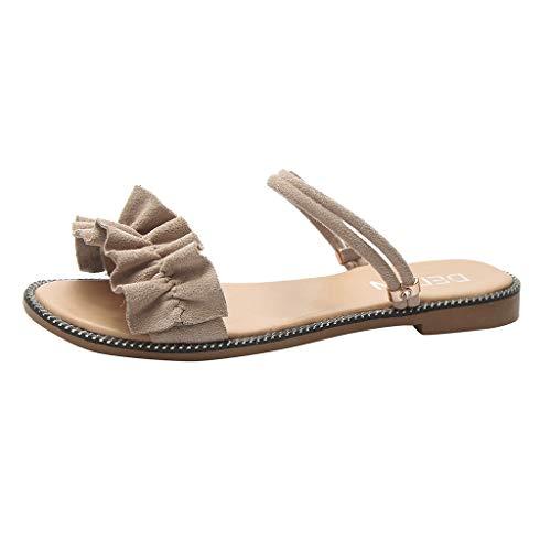 (Sherostore ♡ Women's Sandals Comfort Ruffles Slip On Slides Indoor Outdoor Flat Shoes Beige)