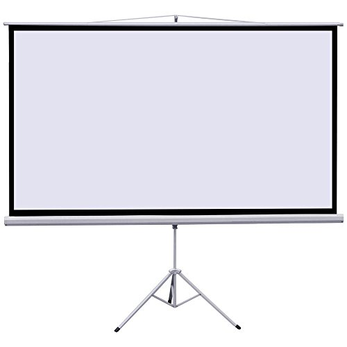 100″ Portable Indoor Outdoor Projector Screen, 100 Inch Diagonal Projection HD 4:3 Projection Pull Up Foldable Stand Tripod