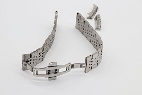 19mm Curved Connection Silver Business Watch Belt Solid 304 Stainless Steel Watch Strap Deployant Clasp by autulet (Image #2)