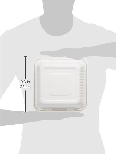 AmazonBasics 9'' x 9'' x 3.19'' Compostable Clamshell Take-Out Food Container, 300-Count by AmazonBasics (Image #4)