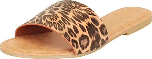 (Cambridge Select Women's Slip-On Open Toe Single Band Flat Slipper Slide Sandal,7.5 B(M) US,Brown Leopard NBPU)