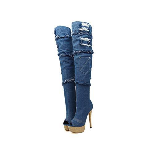 De Y Boca Heel Blue Ballroom De Primavera Sra Plataforma Botas Knee Impermeable Pescado Otoño Zapatos Hole Shorts High Boots Vaquero w0CIHdqC