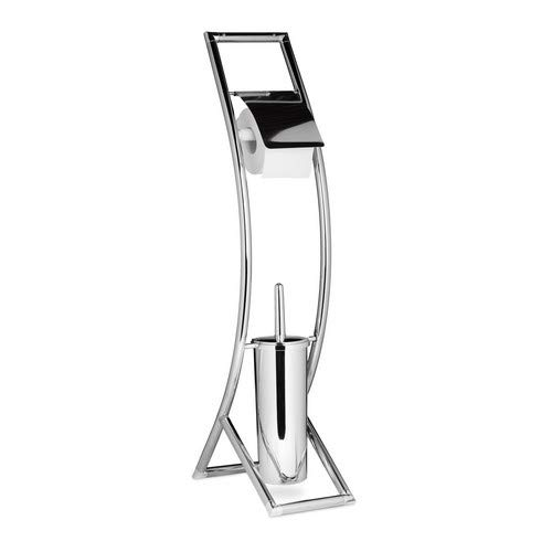 Relaxdays CURVY Toilet Butler, Size: 81 x 17 x 30 cm Toilet Brush and Holder made of Metal in Stainless Steel Look with Toilet Paper Roll Holder, Freestanding Set, Silver