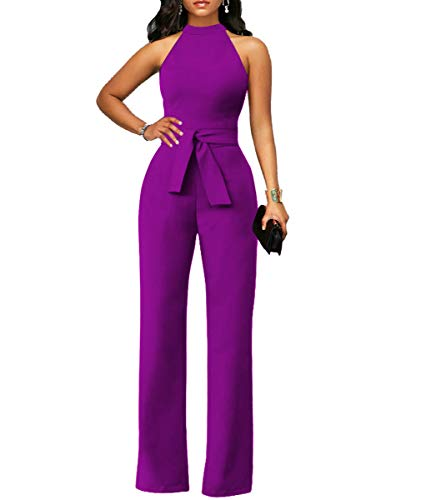 - Women's Elegant Solid Jumpsuit Sleeveless High Waisted Wide Leg Pants Jumpsuits Romper with Belt Purple M