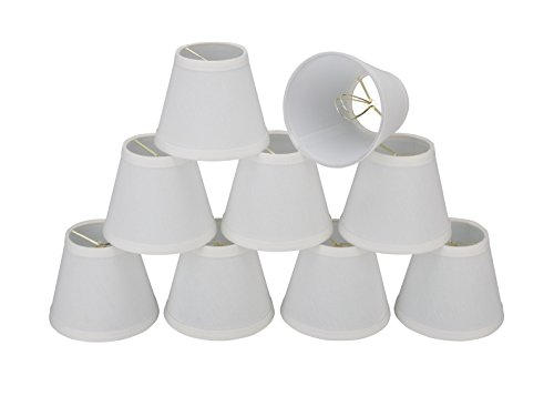 Aspen Creative 32103-9 Small Hardback Empire Shape Chandelier Clip-On Lamp Shade Set (9 Pack), Transitional Design in White, 6″ bottom width (3″ x 6″ x 5″)