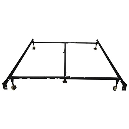 LANGRIA Adjustable Heavy Duty Metal Bed Frame (1000 lbs. Capacity, 6-Leg Support, 7.5 Inch Height, Lockable Casters), Twin/Full/Queen (Ang Bracket)