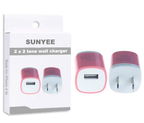SUNYEE 2 Pack 2-Tone Color USB AC Home Wall Travel Charger Adapter for iPhone 5 5S 5C, iPad 2 3 4, iPad Air, iPad Mini (SUNYEE Pink)