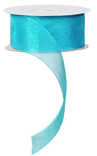 "1.5"" Sheer Organza Ribbon, No Wire - 25 Yards (Aqua)"