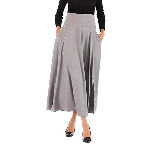 NREALY New Women's High Waist Pleated A Line Long Skirt Front Slit Belted Maxi Skirt(2XL, Gray)]()