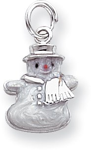 (Quality Gold Enameled Snowman Charm, Sterling Silver)