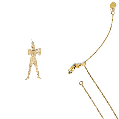 14K Yellow Gold Boxer Pendant on an Adjustable 14K Yellow Gold Round Cable Chain Necklace, 22