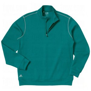 adidas Contrast Textured Zip Mock Men's Sweatshirt Golf Pullover (X-Large, Jade/Lemongrass)