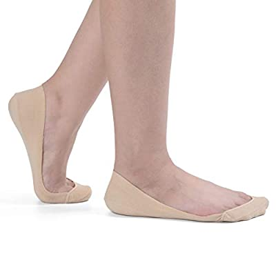 Flammi Women's TRULY No Show Socks for Flats Non Slip Ultra Low Cut 3-8 Pairs