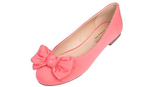 - Feversole Round Toe Ballet Cute Bow Trim Women's Flat Shoes