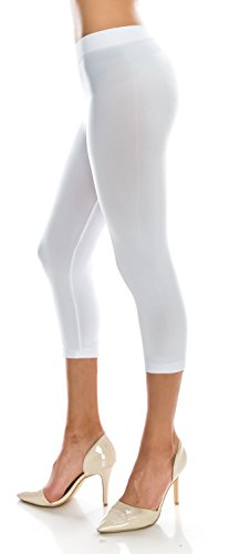 CircleSquare Fashion Women's Basic Capri Cropped Footless Tights Leggings Pants (Plus Size (Size 14-20), LG08 White) (Footless Tights White)