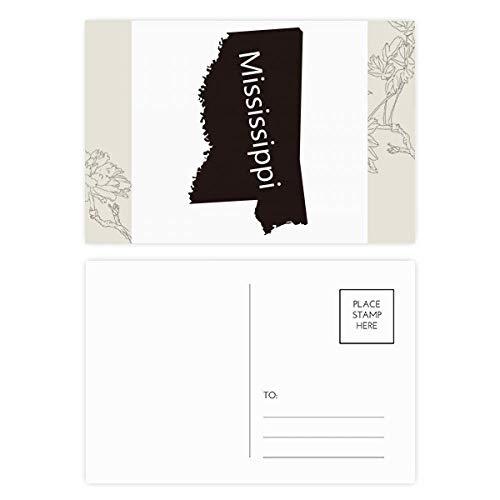 Mississippi USA Map Silhouette Flower Postcard Set Thanks Card Mailing Side 20pcs (Postcard Mississippi)