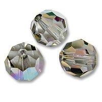 Swarovski Round Crystal Bead 5000 8mm Black Diamond AB (Package of 3) 8mm Black Diamond Swarovski Crystal