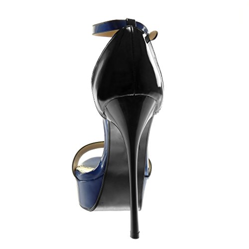 Angkorly Women's Fashion Shoes Sandals Pump Court Shoes - Stiletto - Platform - Ankle Strap - Patent - Thong Stiletto High Heel 14.5 cm Navy Ake8i