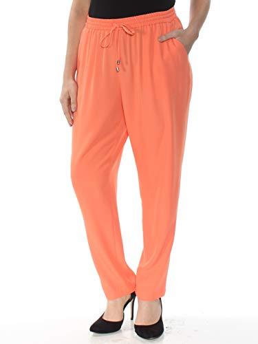 - DKNY Womens High Rise Pull On Straight Leg Pants Orange L