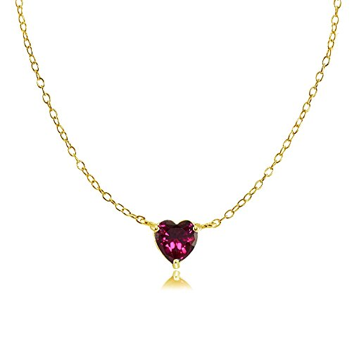 Solitaire Ruby Created Gold (Ice Gems Yellow Gold Flashed Sterling Silver Small Dainty Created Ruby Heart Choker Necklace)