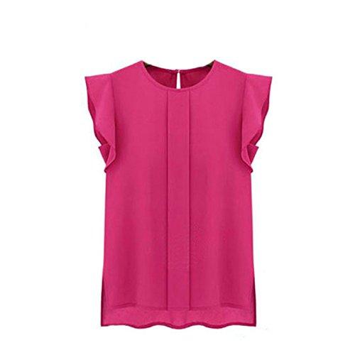 (Toraway Blouses, Women Summer Tulip Sleeve Chiffon Blouse Shirt (Medium, Hot Pink))