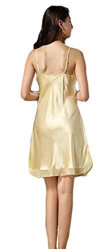 Abbigliamento Nightdress Donna Fionda Smanicato Seta Notte Colori V neck Giovane Solidi Abito Corto Moda Eleganti Morbidi Vestito Comodo Estivi Gelb Da Pigiami PHOqff