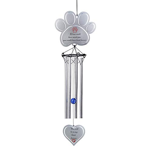 BJB Pet Memorial Wind Chime, Personalized Metal Casted Pawprint Wind Chimes, Pet Sympathy Gifts for Remember Your Pet-Perfect Porch and Garden Décor -
