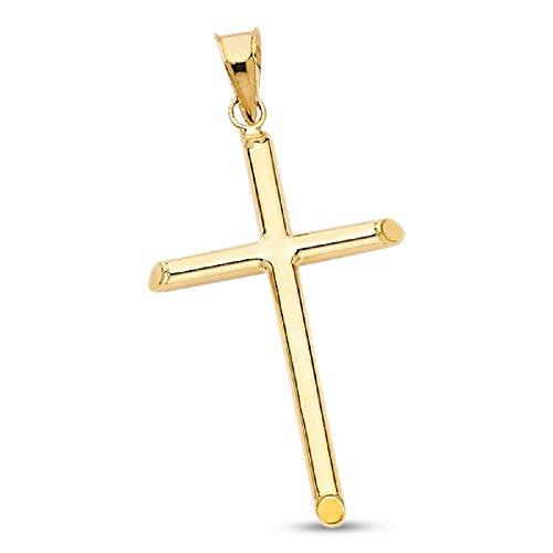 Tube Cross Charm - 14k Yellow Gold Plain Cross Charm Tube Pendant Religious Christian Jewelry Solid Genuine 33mm x 20mm