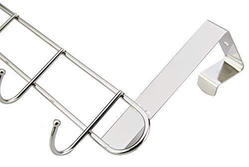 Large Product Image of Pro Chef Kitchen Tools Over The Door Hook - General Purpose Storage Racks - 6 Coat Hooks - No Drill Towel Rack for Bathroom Storage Closet - Behind The Door Organizer Clothes Rack - Key Broom Hanger