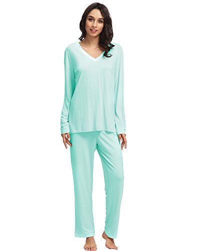 (GYS Women's Bamboo Long Sleeve V Neck Pajama Pants Set (L, Aqua))