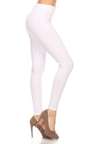 Leggings Depot Women's Premium Quality Ultra Soft Cotton Spandex Solid Leggings (White, Medium) (Cotton White Leggings)