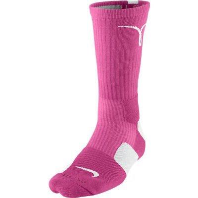Nike Kay Yow Elite Crew Basketball Socks Pink/White Size Socks Large 8-12
