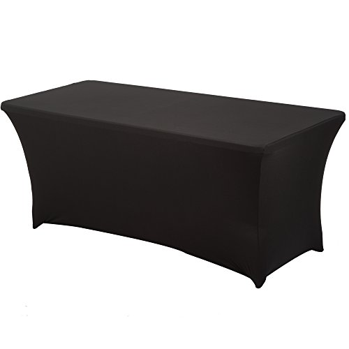 Haorui Rectangular Spandex Table Cover (6 ft. Black)