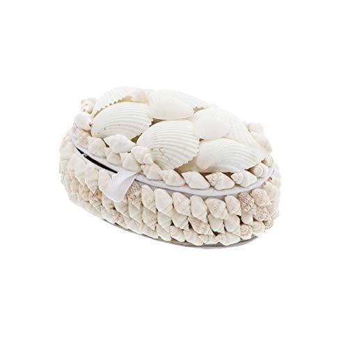 Li'Shay White Seashell Covered Jewelry Trinket Box Treasure Box - 4 Inch - ()