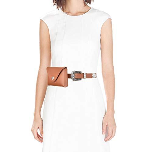Talleffort Leather Fanny Packs For Women Fashion Waist Purse Cash Phone Bag With Removable Belt Waist Belts Bag Brown-S