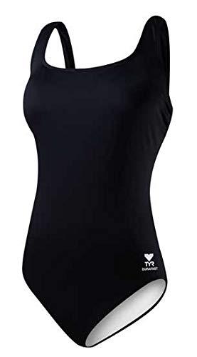 - TYR Women's Fit Solid Aqua Tank Suit, Black-10