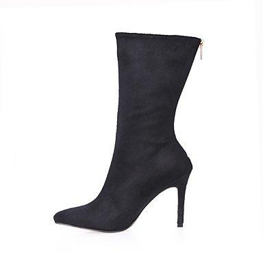 DESY Mujer Zapatos Terciopelo Otoño Invierno Botas de Moda Botas Dedo Puntiagudo Mitad de Gemelo Para Vestido Fiesta y Noche Negro