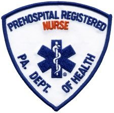 PREHOSPITAL REGISTERED NURSE - Red - Star of Life - Shoulder - PA DEPT OF HEALTH - Pennsylvania Department of Health - Logo T shirt Jacket Uniform Patch Sew Iron on Embroidered Sign Badge (Fire Dept Embroidery)