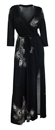 eVogues Plus Size Wrap Maxi Dress Black Designer Print - 1X